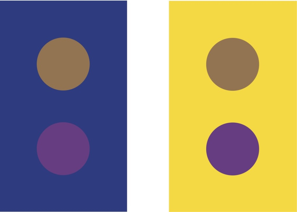 The color of the dots is the same in both figures.  The strong background colors affect perception of foreground colors.